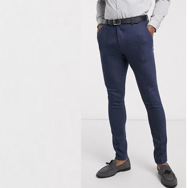 ASOS DESIGN ウェディング スーパー スキニー ウール ミックス スーツ パンツ(ネイビーヘリンボーン) 20代 30代 40代 ファッション コーディネート小さいサイズから大きいサイズまで オシャレ トレンド インポート トレンド