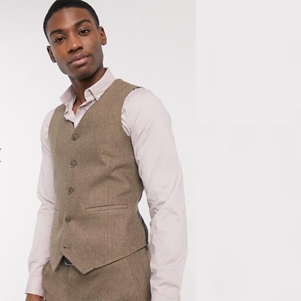 ベストキャメル ヘリンボーン ASOS DESIGN ウェディング スキニー ウール ミックス スーツ ウエスト コート 20代 30代 40代 ファッション コーディネート小さいサイズから大きいサイズまで オシャレ トレンド インポート トレンド