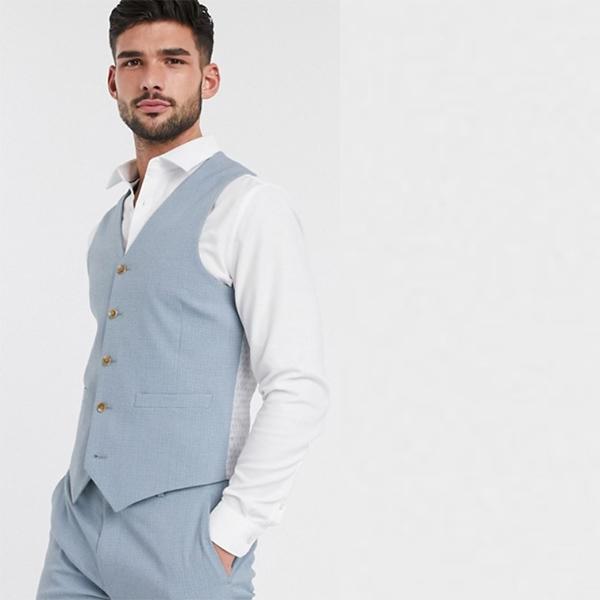 ベストクロスハッチ ソフトブルー ASOS DESIGN ウェディング スキニー スーツ ウエスト コート 20代 30代 40代 ファッション コーディネート小さいサイズから大きいサイズまで オシャレ トレンド インポート トレンド