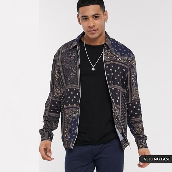 バンダナ プリント リバーアイランド ジップ スルー シャツ シャツ トップス メンズ 20代 30代 40代 ファッション コーディネート小さいサイズから大きいサイズまで オシャレ トレンド インポート トレンド