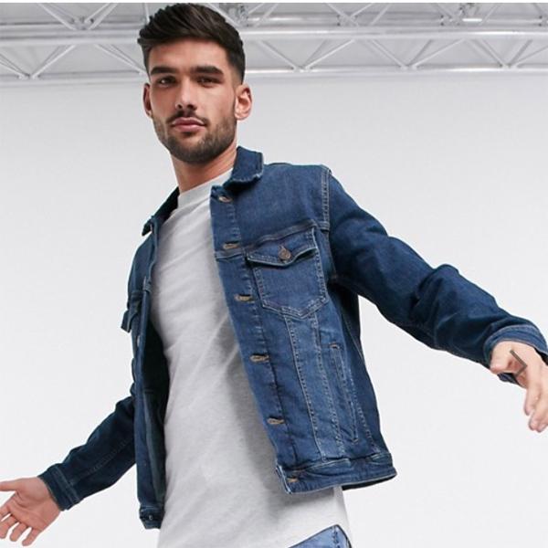 ミッドブルー Jack&Jones Intelligence デニム ジャケット メンズ 20代 30代 40代 ファッション コーディネート小さいサイズから大きいサイズまで オシャレ トレンド インポート トレンド