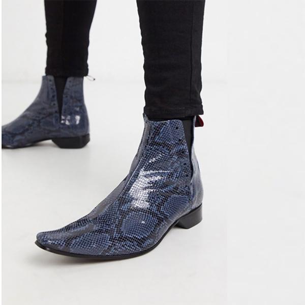 ジェフリー ウェスト ピノ チェルシー ブーツ ブルー スネーク 20代 30代 40代 ファッション コーディネート 小さいサイズから大きいサイズまで オシャレ トレンド インポート トレンド