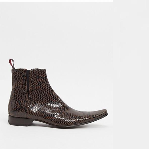 ジェフリー ウェスト ピノ チェルシー ブーツ ブラウン スネーク 20代 30代 40代 ファッション コーディネート 小さいサイズから大きいサイズまで オシャレ トレンド インポート トレンド