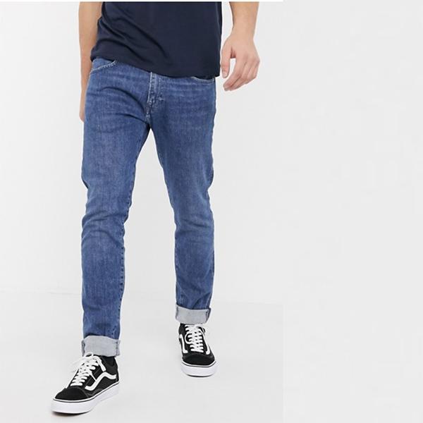 エドウィン ED85 スキニー フィット ジーンズ ウォッシュドブルー デニム パンツ ボトム メンズ 20代 30代 40代 ファッション コーディネート小さいサイズから大きいサイズまで オシャレ トレンド インポート トレンド