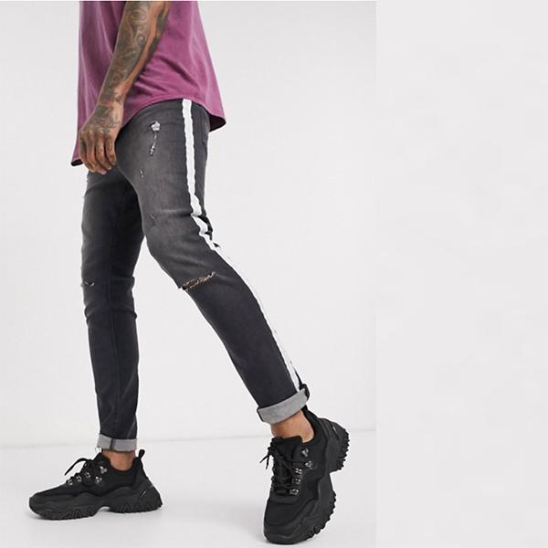 Religion Gear スキニー ィットジーンズ ブラック ストライプ リップ ペイント 20代 30代 40代 ファッション コーディネート小さいサイズから大きいサイズまで オシャレ トレンド インポート トレンド