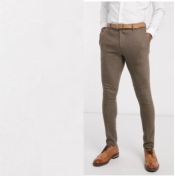 キャメルヘリンボーン ASOS DESIGN ウェディング スリム ウール ミックス スーツ ズボン 20代 30代 40代 ファッション コーディネート 小さいサイズから大きいサイズまで オシャレ トレンド インポート トレンド