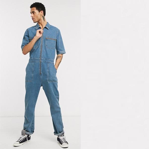 ASOS DESIGN ライトウォッシュブルー ジップ ポケット付き 半袖 デニム ジャンプスーツ 20代 30代 40代 ファッション コーディネート 小さいサイズから大きいサイズまで オシャレ トレンド インポート トレンド