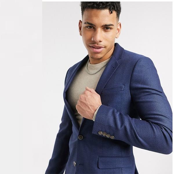ASOS DESIGN ネイビー ワイド ヘリンボーン スーパー スキニー ウール ミックス ブレザー 20代 30代 40代 ファッション コーディネート 小さいサイズから大きいサイズまで オシャレ トレンド インポート トレンド