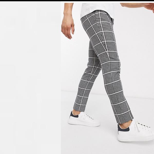 ASOS DESIGN スマート スキニーパンツ ブラック ウール ミックス チェック サイド アジャスター 20代 30代 40代 ファッション コーディネート 小さいサイズから大きいサイズまで オシャレ トレンド インポート トレンド