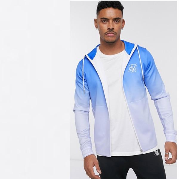 ブルー オンブル フェード パーカー SikSilk ジップ 20代 30代 40代 ファッション コーディネート 小さいサイズから大きいサイズまで オシャレ トレンド インポート トレンド