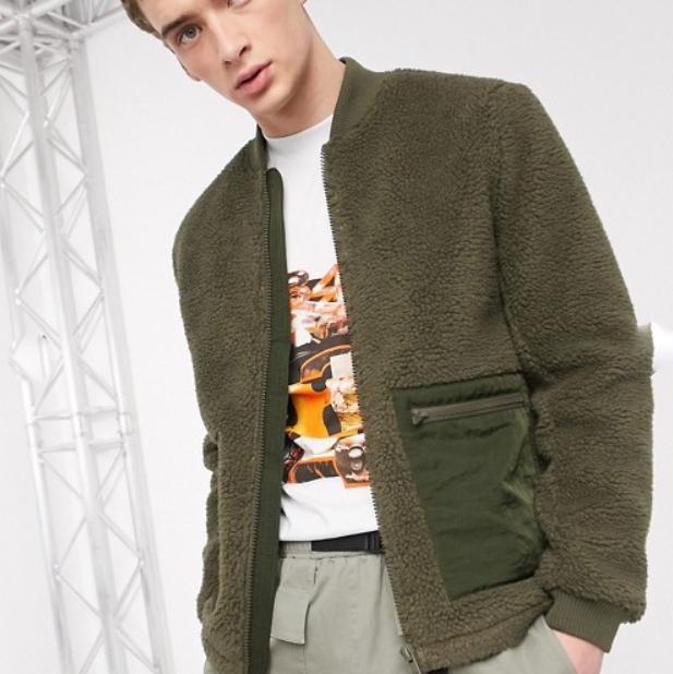 ASOS DESIGN カーディ テディ ボンバージャケット 20代 30代 40代 ファッション コーディネート 小さいサイズから大きいサイズまで オシャレ トレンド インポート トレンド