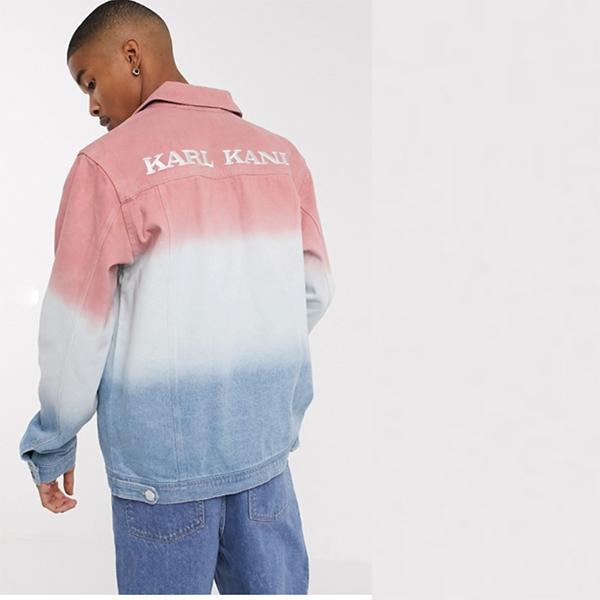 カールカニ グラデーション デニム シャツ ジャケット(ブルー/ピンク) 20代 30代 40代 ファッション コーディネート 小さいサイズから大きいサイズまで オシャレ トレンド インポート トレンド