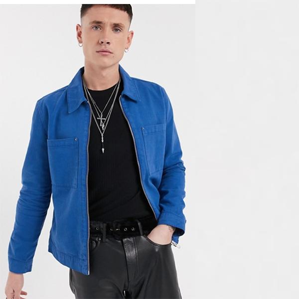 コバルトブルー ジップ付き ASOS DESIGN デニム ジャケット 20代 30代 40代 ファッション コーディネート 小さいサイズから大きいサイズまで オシャレ トレンド インポート トレンド