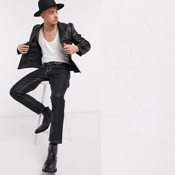 ASOS DESIGN ブラック フェイクレザー スキニー ブレザー 20代 30代 40代 ファッション コーディネート  オシャレ トレンド インポート トレンド