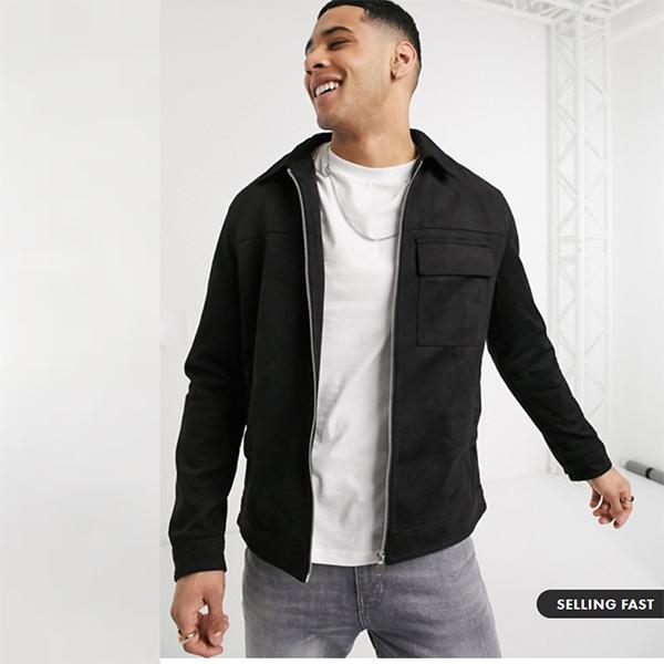 ニュールック スエード ユーティリティ ジャケット ブラック 20代 30代 40代 ファッション コーディネート  オシャレ トレンド インポート トレンド