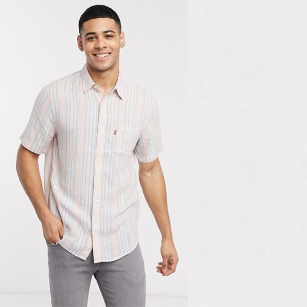 Levi's Sunset 1ポケット ストライプ ショート スリーブ シャツ レギュラー フィット ホワイト 20代 30代 40代 ファッション コーディネート 小さいサイズから大きいサイズまでオシャレ トレンド インポート トレンド