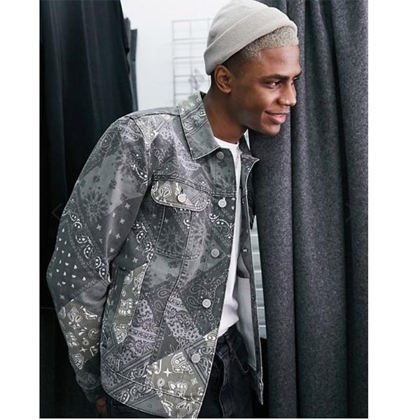 ペイズリー柄 ASOS DESIGN デニム ジャケット 20代 30代 40代 ファッション コーディネート 小さいサイズから大きいサイズまでオシャレ トレンド インポート トレンド
