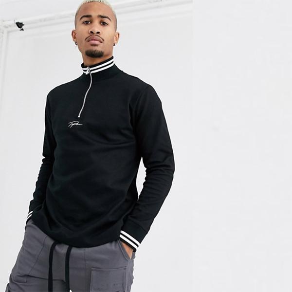 ブラック 刺繍入り トップマン シグネチャー ファンネル ネック スウェット 20代 30代 40代 ファッション コーディネート 小さいサイズから大きいサイズまでオシャレ トレンド インポート トレンド