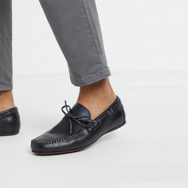 靴 シューズ asos ASOS エイソス メンズ ブラック ソフトレザー ドライビング シューズ 大きいサイズ インポート