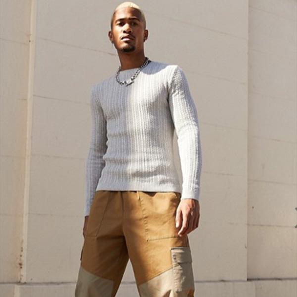 ASOS DESIGN筋肉フィットグレーの軽量ケーブルニットジャンパートップス 20代 30代 40代 ファッション コーディネート 大きいサイズあり