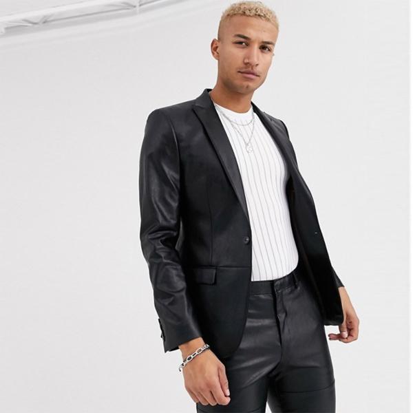River Island リバーアイランド ブラック フェイクレザー スーツジャケット スキニー スーツジャケット スーツ インポート セレブファッション 大きいサイズ 高身長