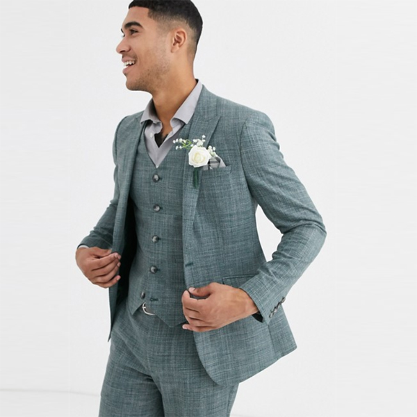 asos エイソス ASOS パイングリーン クロスハッチ ウェディングスキニースーツジャケット スキニー スーツジャケット スーツ インポート セレブファッション 大きいサイズ 高身長