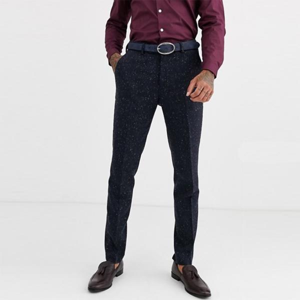 Avail London メンズ ネイビー フレックツイード スキニースーツパンツ 大きいサイズ インポート