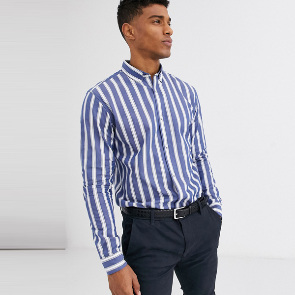 ASOSセレクト Jack & Jones asos ASOS エイソス メンズ Jack & Jones Premium ブルー スリムフィット ストライプシャツ 大きいサイズ インポート エクストリームスーパースキニーフィット スウェットパンツ ジーンズ ジーパン 20代 30代 40代 ファッション コーディネート