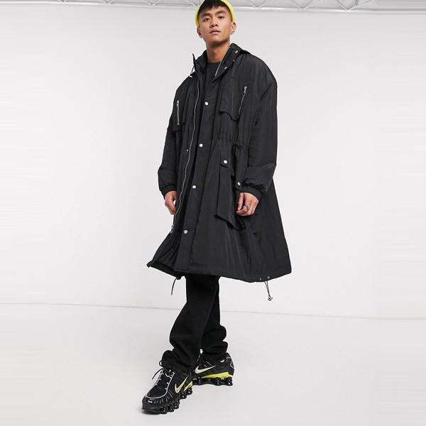 asos ASOS エイソス メンズ ASOS DESIGN ブラック マルチポケット 延縄 コート 大きいサイズ インポート エクストリームスーパースキニーフィット スウェットパンツ ジーンズ ジーパン 20代 30代 40代 ファッション コーディネート