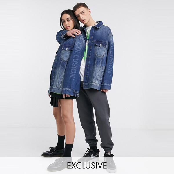 ASOSセレクト COLLUSION asos ASOS エイソス メンズ COLLUSION Unisex 特大 ブランド デニム ジャケット 大きいサイズ インポート エクストリームスーパースキニーフィット スウェットパンツ ジーンズ ジーパン 20代 30代 40代 ファッション コーディネート