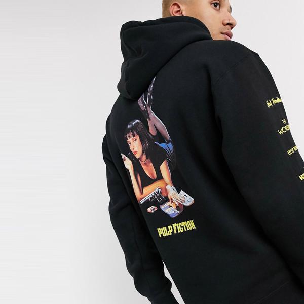 HUF ハフ asos ASOS エイソス メンズ HUF x Pulp Fiction ブラック ミア トリプル トライ アングル パーカー 大きいサイズ インポート エクストリームスーパースキニーフィット スウェットパンツ ジーンズ ジーパン 20代 30代 40代 ファッション コーディネート