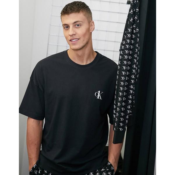 Calvin Klein カルバンクライン メンズ Calvin Klein CK ブラック ロゴ クルーネック ラウンジ Tシャツ 大きいサイズ インポート エクストリームスーパースキニーフィット スウェットパンツ ジーンズ ジーパン 20代 30代 40代 ファッション コーディネート