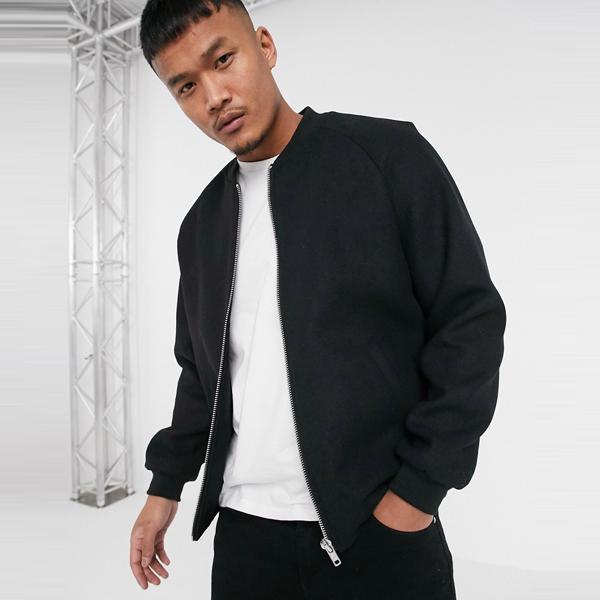 asos ASOS エイソス メンズ ASOS DESIGN ブラック ウール ミックス ボンバー ジャケット 大きいサイズ インポート エクストリームスーパースキニーフィット スウェットパンツ ジーンズ ジーパン 20代 30代 40代 ファッション コーディネート