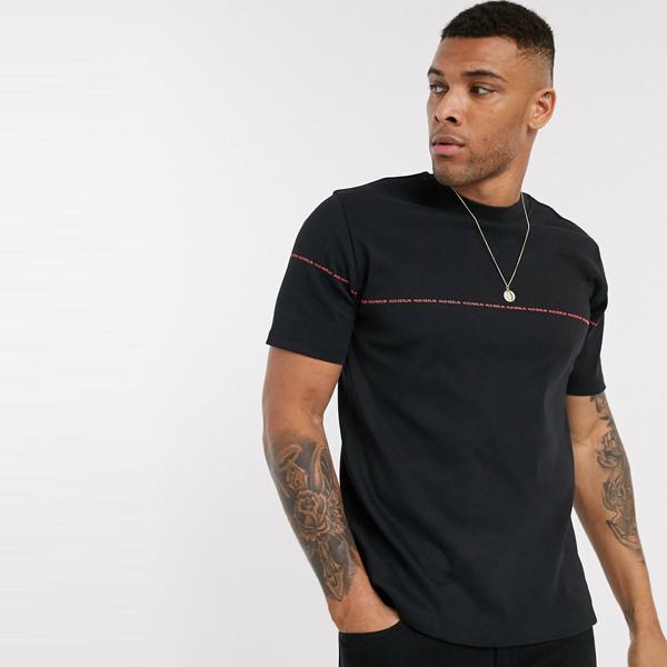 HUGO BOSS ヒューゴ ボス asos ASOS エイソス メンズ HUGO Dittle ブラック リラックス フィット 小さな ロゴ Tシャツ 大きいサイズ インポート エクストリームスーパースキニーフィット スウェットパンツ ジーンズ ジーパン 20代 30代 40代 ファッション コーディネート