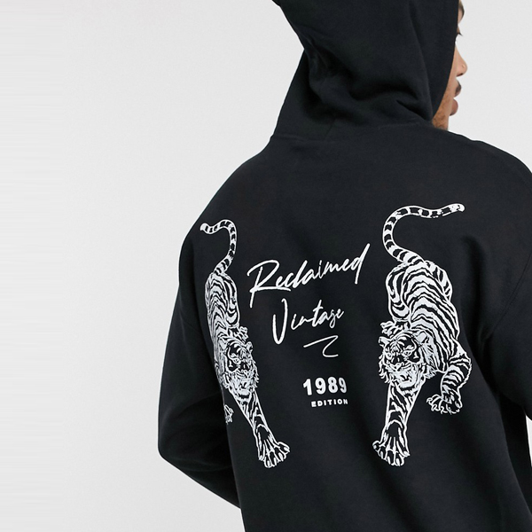 ASOSセレクト Reclaimed Vintage asos ASOS エイソス メンズ ブラック 虎 プリント インスピレーション パーカー 大きいサイズ インポート エクストリームスーパースキニーフィット スウェットパンツ ジーンズ ジーパン 20代 30代 40代 ファッション コーディネート