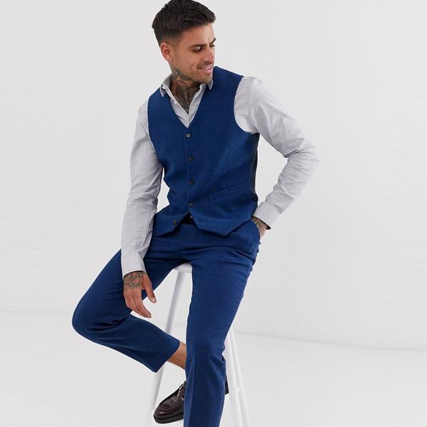 ベスト ジレ asos ASOS エイソス メンズ ASOS DESIGN ブルー ウールミックス ツイル 結婚式 スキニー スーツ チョッキ 大きいサイズ インポート エクストリームスーパースキニーフィット スウェットパンツ ジーンズ ジーパン 20代 30代 40代 ファッション コーディネート