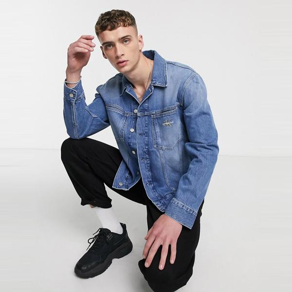 Calvin Klein Jeans カルバンクラインジーンズ asos ASOS エイソス メンズ ブルー 特大 象徴的 デニム ジャケット 大きいサイズ インポート エクストリームスーパースキニーフィット スウェットパンツ ジーンズ ジーパン 20代 30代 40代 ファッション コーディネート