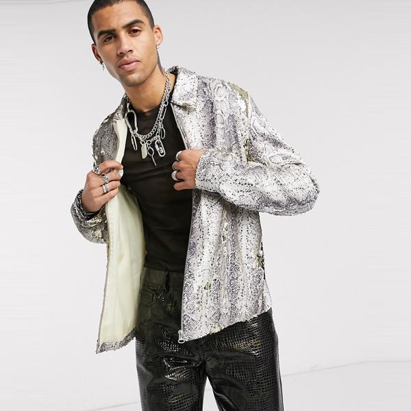 asos ASOS エイソス メンズ ASOS DESIGN 蛇皮 スパンコール ハリントン ジャケット 大きいサイズ インポート エクストリームスーパースキニーフィット スウェットパンツ ジーンズ ジーパン 20代 30代 40代 ファッション コーディネート