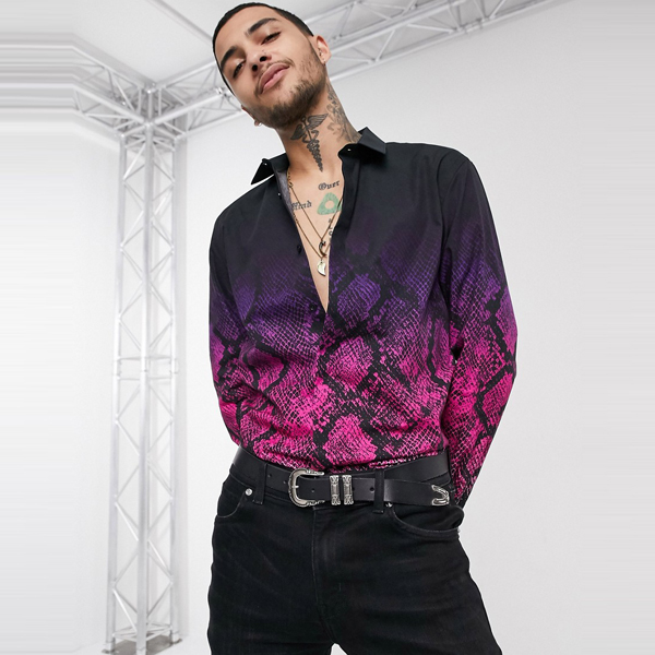 ASOSセレクト Twisted Tailor asos ASOS エイソス メンズ Twisted Tailor ピンク 蛇 フェード インプリント シャツ 大きいサイズ インポート エクストリームスーパースキニーフィット スウェットパンツ ジーンズ ジーパン 20代 30代 40代 ファッション コーディネート