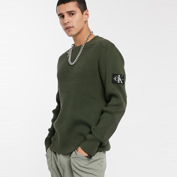 Calvin Klein Jeans カルバンクラインジーンズ メンズ Calvin Klein Jeans モノグラム スリーブ バッジ ジャンパー カーキ 大きいサイズ インポート エクストリームスーパースキニーフィット スウェットパンツ ジーンズ ジーパン 20代 30代 40代 ファッション コーディネート