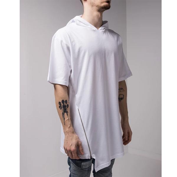 Gentleman To Be(ジェントルマントゥービー) フード付き サイド ジップ ホワイト Tシャツ トップス メンズ 20代 30代 40代 ファッション コーディネート小さいサイズから大きいサイズまで オシャレ トレンド インポート トレンド