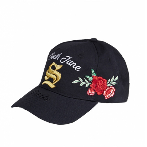 Sixth June(シックススジューン)CAP キャップ ロゴ フラワー刺繍 ブラック ゴールド 帽子 インポート 日本未入荷 ヒップホップ ファッション コーディネート アウトフィット