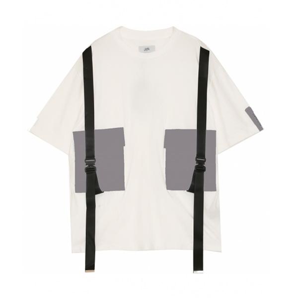 日本未入荷 Sixth June(シックススジューン)ストラップ ポケット付き Tシャツ ホワイト 20代 30代 40代 ファッション コーディネート オシャレ カジュアル インポートブランド