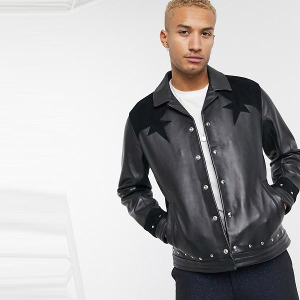asos ASOS エイソス メンズ ASOS EDITION 金属加工 スエード ブラック 革 ハリントン ジャケット 大きいサイズ インポート エクストリームスーパースキニーフィット スウェットパンツ ジーンズ ジーパン 20代 30代 40代 ファッション コーディネート