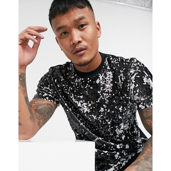 asos ASOS エイソス メンズ ASOS DESIGN モノクロ スパンコール付き Tシャツ 大きいサイズ インポート エクストリームスーパースキニーフィット スウェットパンツ ジーンズ ジーパン 20代 30代 40代 ファッション コーディネート