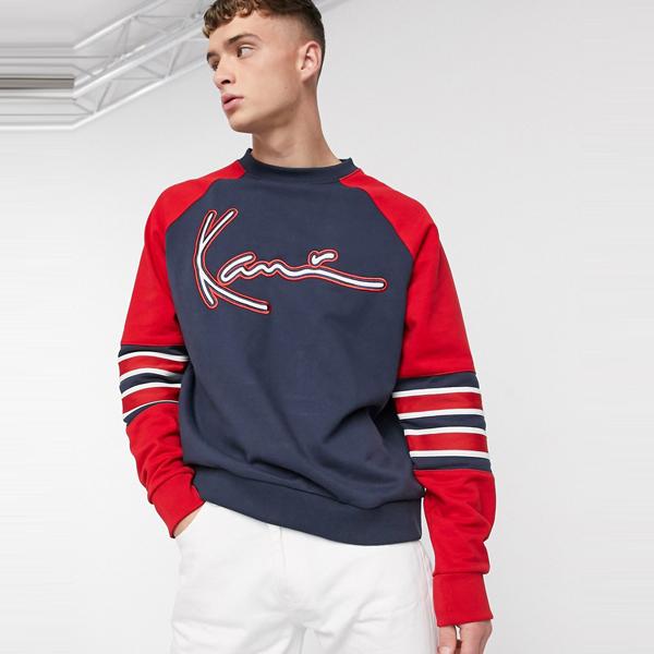 ASOSセレクト Karl Kani asos ASOS エイソス メンズ Karl Kani Signature ネイビー 袖付き ブロック トレーナー 大きいサイズ インポート エクストリームスーパースキニーフィット スウェットパンツ ジーンズ ジーパン 20代 30代 40代 ファッション コーディネート