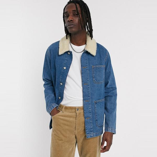 asos ASOS エイソス メンズ ASOS DESIGN 取り外し 可能 ボーグカラー ブルー デニム 労働者 ジャケット 大きいサイズ インポート エクストリームスーパースキニーフィット スウェットパンツ ジーンズ ジーパン 20代 30代 40代 ファッション コーディネート