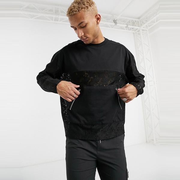 asos ASOS エイソス メンズ ASOS DESIGN ポケット ディテール レース 特大 長袖 大きいサイズ インポート エクストリームスーパースキニーフィット スウェットパンツ ジーンズ ジーパン 20代 30代 40代 ファッション コーディネート