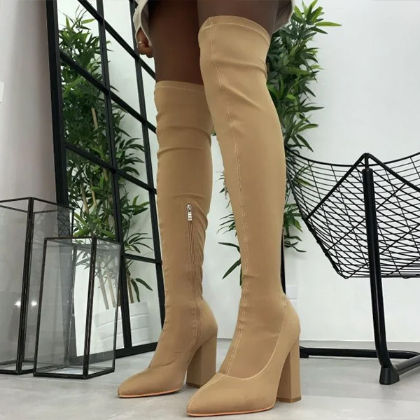 SIMMI(シミ) ロングブーツ ニーハイブーツ 歩きやすい ブーツ 女性 レディース エリンダークベージュストレッチ太もも高ブロックヒールブーツ