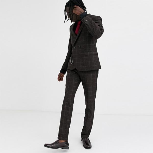 ASOS エイソス asos メンズ ブラウンチェック ツイストテーラー スーパースキニー スーツパンツ 大きいサイズ インポート カジュアル アウトフィット フェス